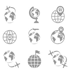 Globe and plane travel icon vector