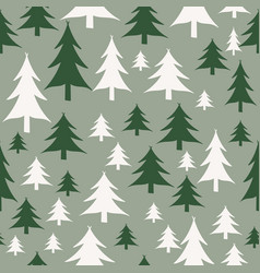 green and white christmas trees seamless pattern vector image