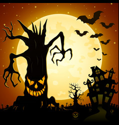 Halloween background scary monsters trees on ceme vector