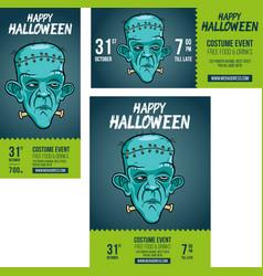 Halloween frankenstein party invite vector