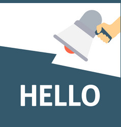 Hand holding megaphone with hello announcement vector