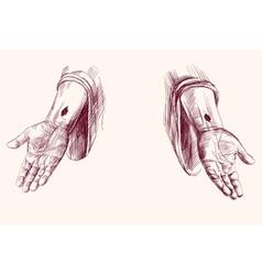 Hands jesus christ hand drawn vector