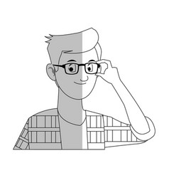 Handsome young man with glasses and plaid shirt vector