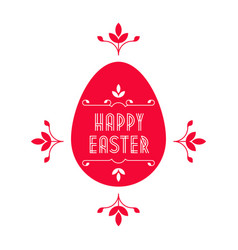 happy easter - festive card with floral elements vector image