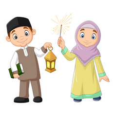 Happy muslim kids with quran book and lantern vector