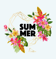 Hello summer floral poster with golden frame vector
