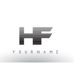 hf h f black and white horizontal stripes letter vector image