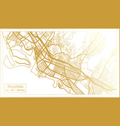 honolulu usa city map in retro style in golden vector image