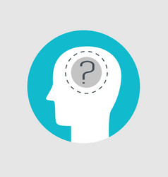 Human head and question mark flat style vector