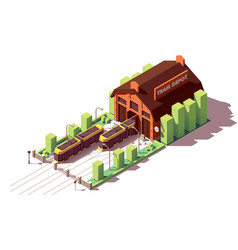 isometric tram depot building vector image