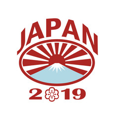 Japan 2019 rugby oval ball retro vector