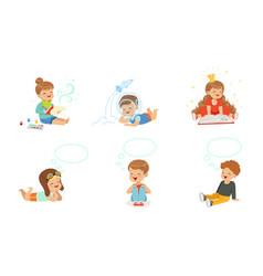 joyful boys and girls toddlers dream vector image