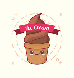 kawaii ice cream design vector image