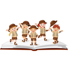kids explorer on top of an open story book vector image