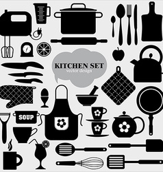 Kitchen icons set of tools vector