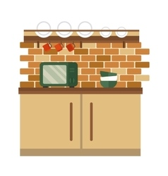 Kitchen interior flat style vector