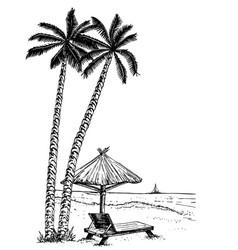landscape with a beach sketch seaside promenade vector image
