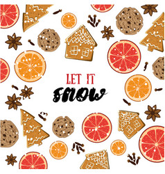 let it snow holiday greeting card with ginger vector image