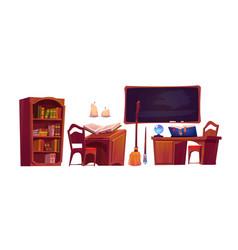magic school interior with open book spell vector image