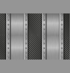 Metal texture with rivetted plates vector