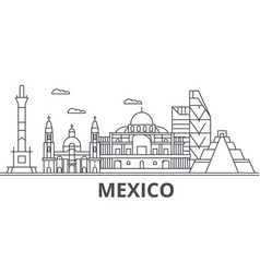Mexico architecture line skyline vector
