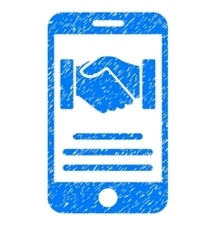 Mobile Agreement Handshake Grainy Texture Icon vector
