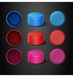 Multicolored plastic bottle caps set vector