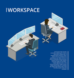 Office workspace 3d isometric banner vector