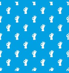 ok gesture pattern seamless blue vector image