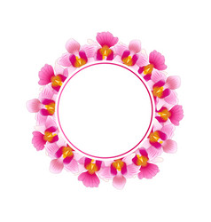 Pink vanda miss joaquim orchid banner wreath vector