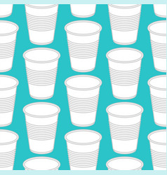 plastic cup pattern seamless disposable dishes vector image