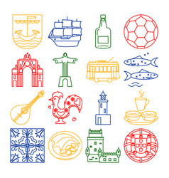 Portugal icons set in thin line style vector