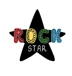 rock star - fun hand drawn nursery poster vector image