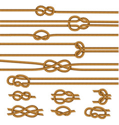 Ropes knots realistic set vector