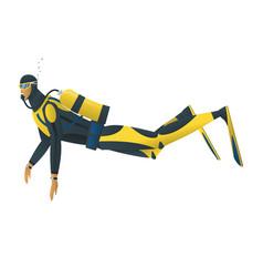 scuba diver on white background vector image