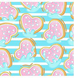Seamless pattern of cookies in milk vector