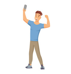 selfie concept with young man standing and make a vector image