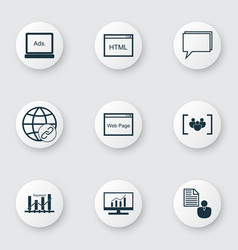 seo icons set with focus group keyword ranking vector image
