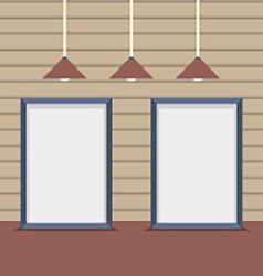 Set Blank Boards With Ceiling Lamps On Wooden Wall vector