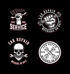 set car repair emblems design element for logo vector image