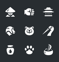 Set of kung fu styles icons vector