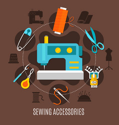 Sewing accessories concept vector
