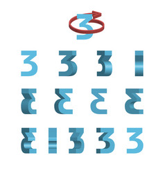 Sheet of sprites rotation of cartoon 3d number 3 vector