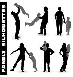 Silhouette happy family vector
