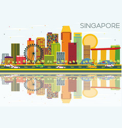 singapore skyline with color buildings blue sky vector image
