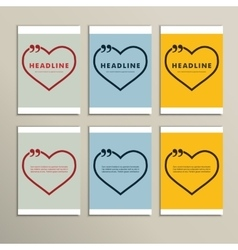 six beautiful hearts on a colorful background vector image