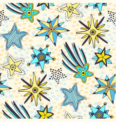 stars seamless pattern abstract doodle background vector image