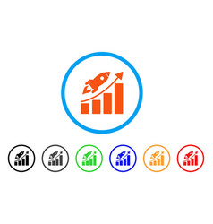 startup rocket growth chart rounded icon vector image