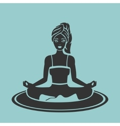 symbol girl yoga lotus pose vector image