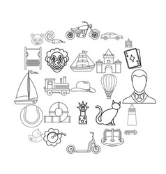 tenderling icons set outline style vector image